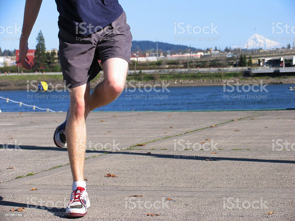 Young Male Playing Hacky Sack royalty-free stock photo