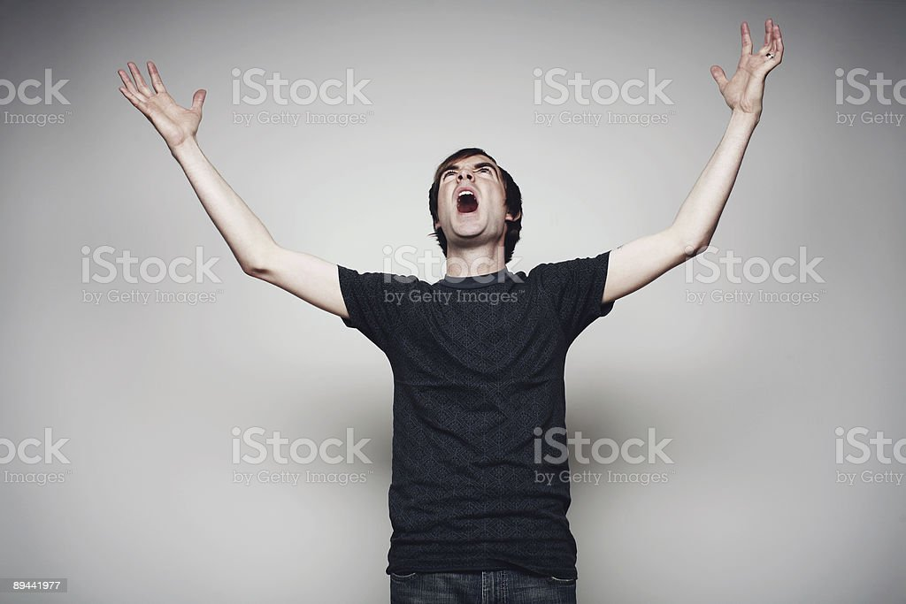 Young Male Screaming in Anger royalty-free stock photo