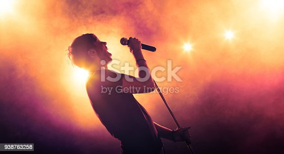 Young vocalist with a microphone singing on stage
