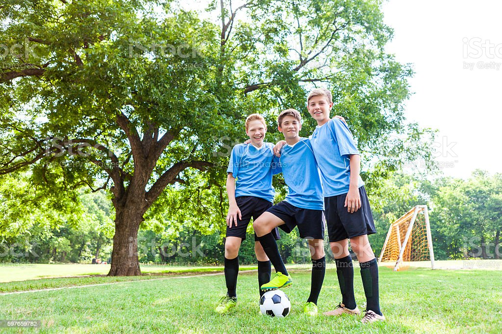 Young male soccer players before the game stock photo