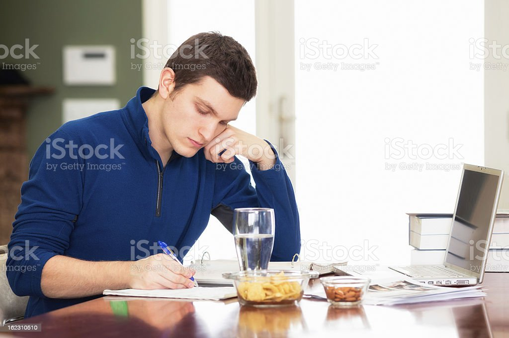 Young male student studying at home royalty-free stock photo