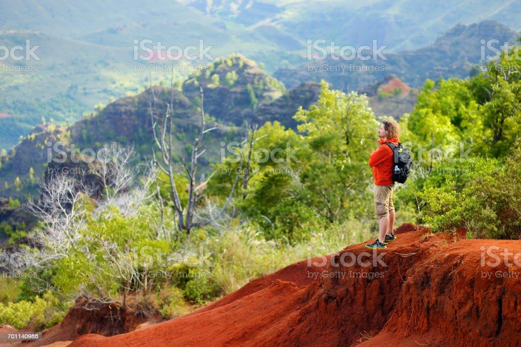 Young male tourist enjoying the view into Waimea Canyon, Kauai, Hawaii stock photo