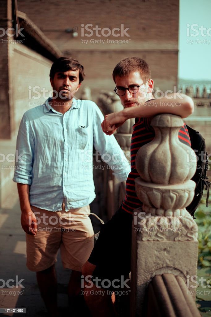 Young male tourists royalty-free stock photo