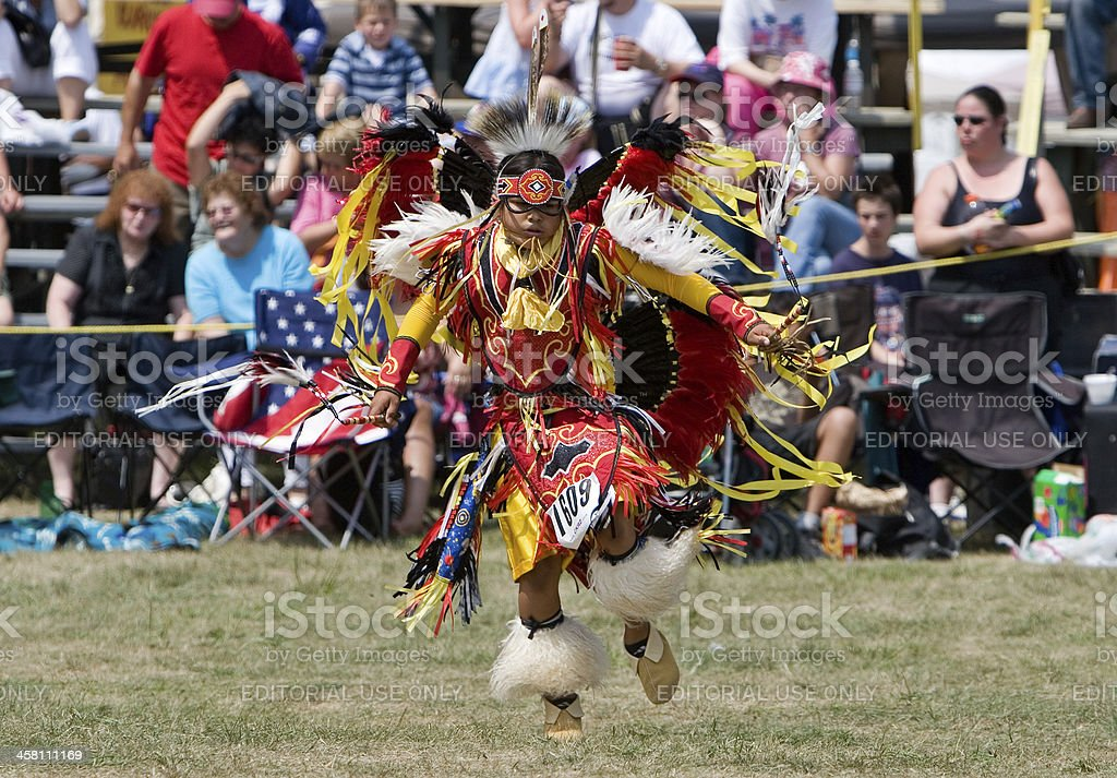 Young male Traditional Dancer performs at a  Powwow stock photo