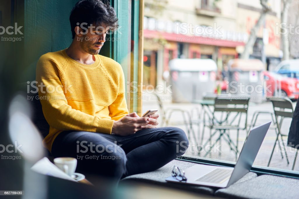 Young male trendy dressed student stock photo