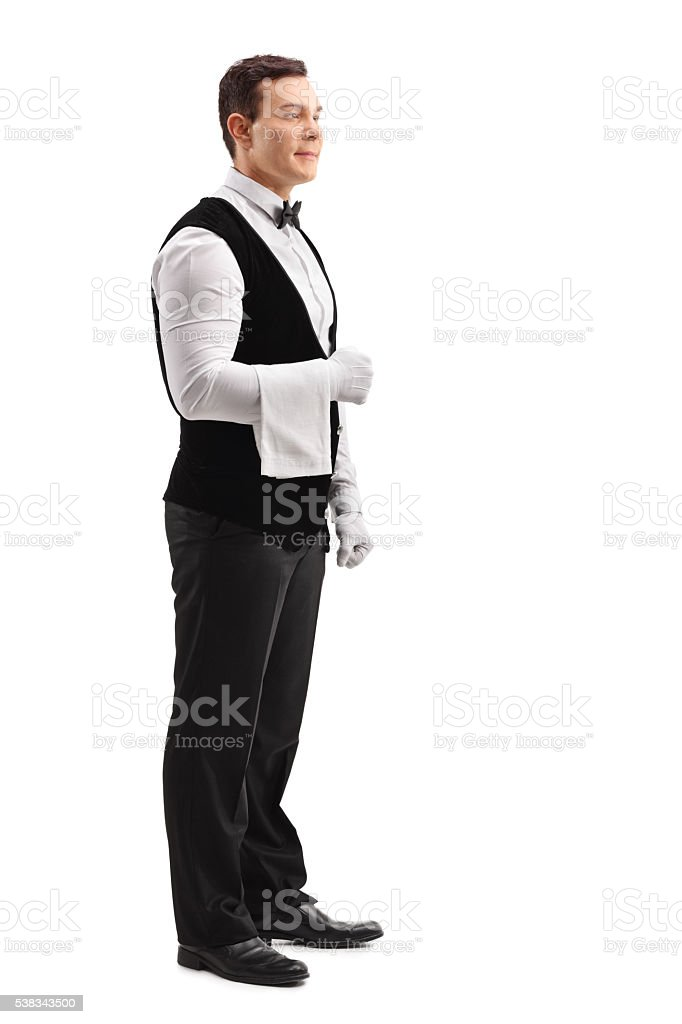 Young male waiter stock photo