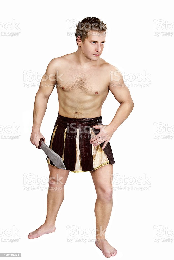young male warrior with a shield stock photo