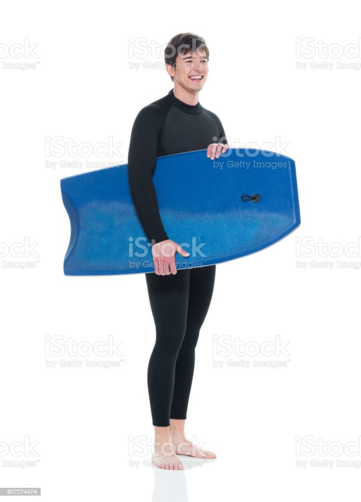 Young male with a bodyboard stock photo