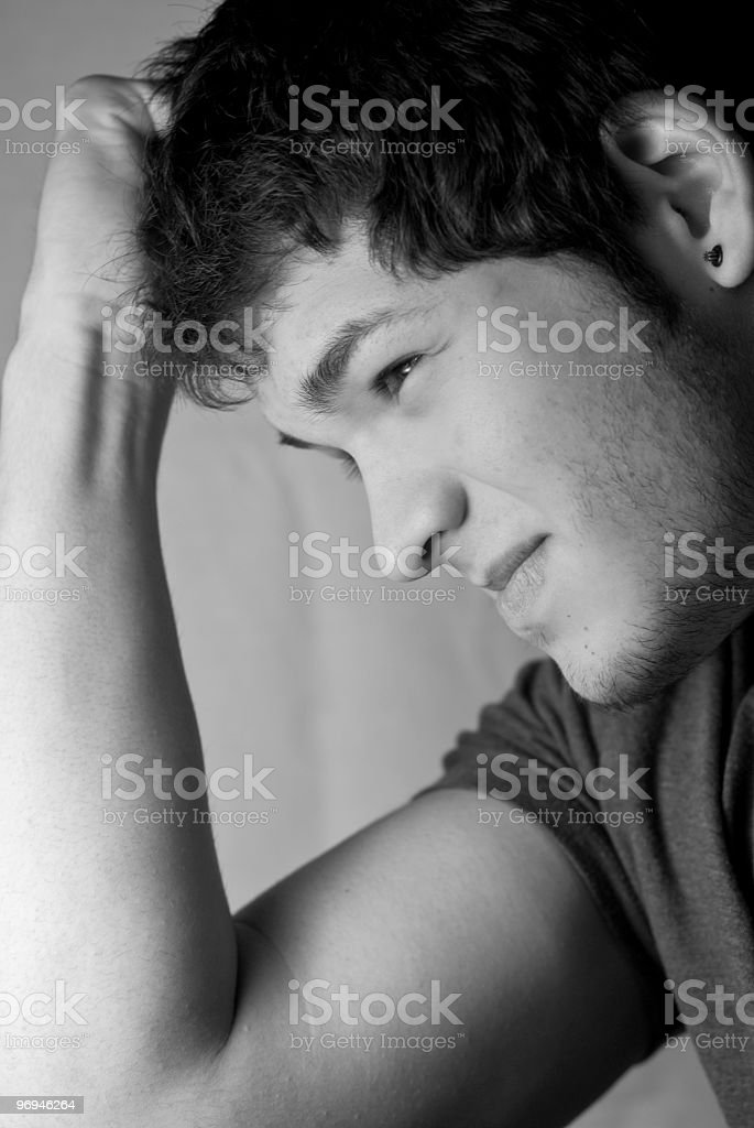 Young male with a thinking face royalty-free stock photo