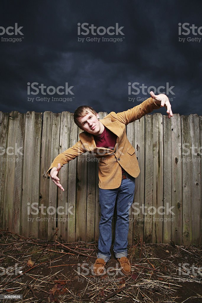 Young Male with Arms Wide Open royalty-free stock photo