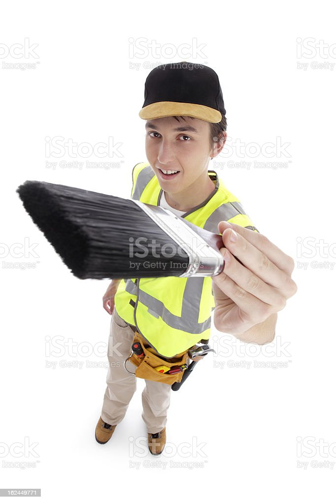 Young male with paintbrush stock photo