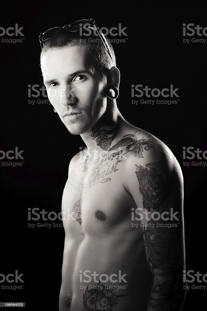 Young male with tattoos royalty-free stock photo