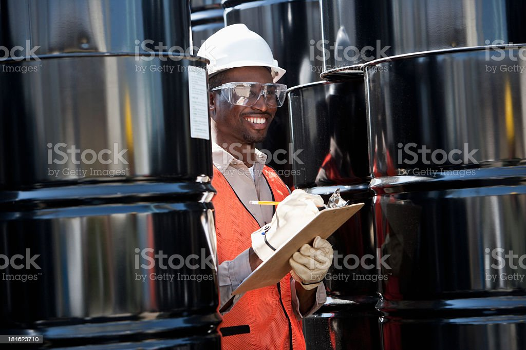 Young male worker at industrial plant stock photo