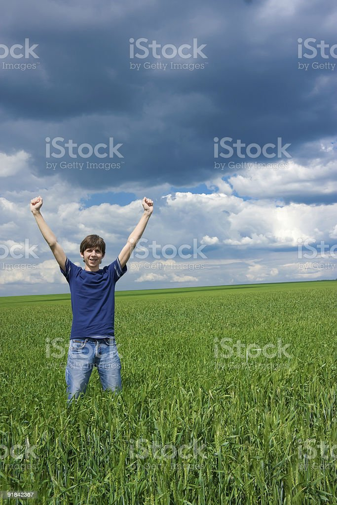 Young man achieved his goal! royalty-free stock photo
