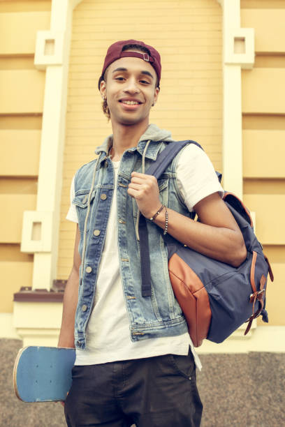 Young man african descent teen age concept stock photo