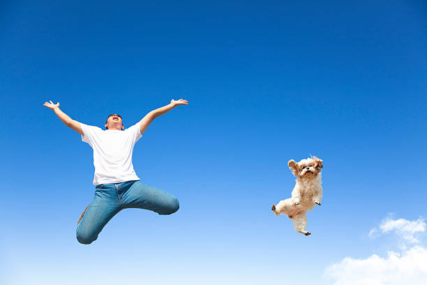 Young man and dog jumping in the sky picture id469008175?b=1&k=6&m=469008175&s=612x612&w=0&h=ytdtbsl7dpnipa2ayfwjbnfnddfgddomtodqsrqwe6y=