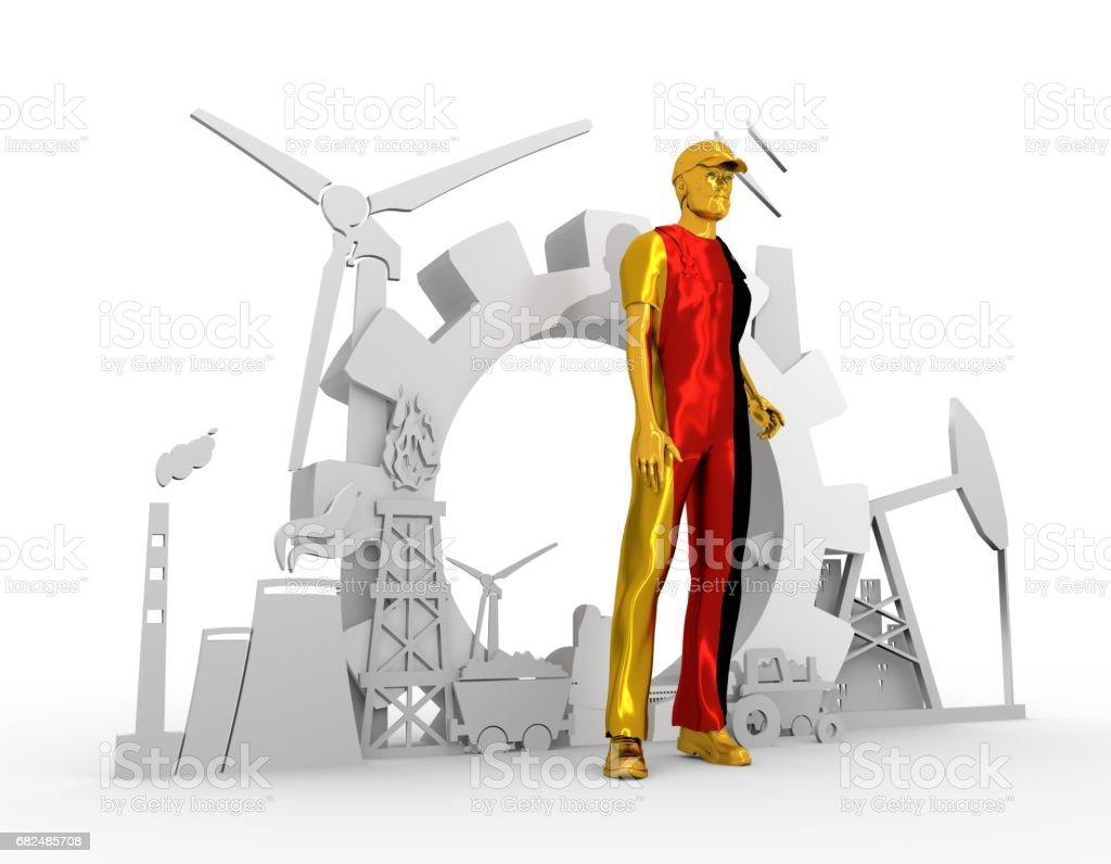 Young man and industrial isometric icons set Стоковые фото Стоковая фотография