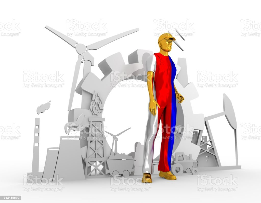 Young man and industrial isometric icons set royalty-free stock photo