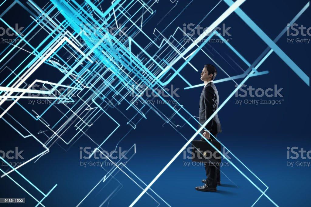 Jeune homme et système concept de réseau. - Photo