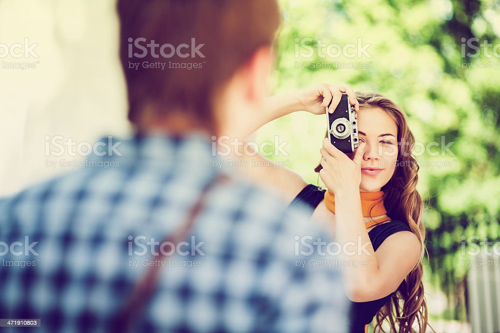 young man and woman in retro style royalty-free stock photo