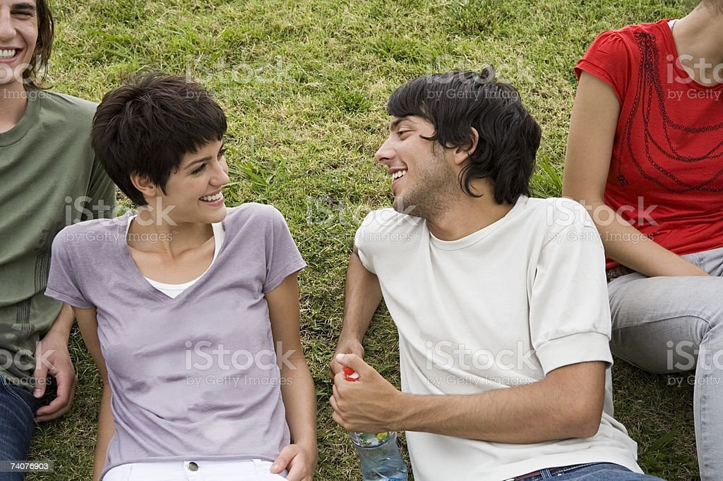 Young man and woman laughing foto de stock royalty-free