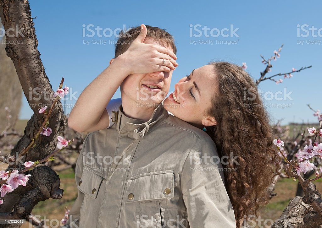 Young man and woman outdoors royalty-free stock photo