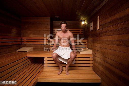 Young man at a gym enjoying a sauna