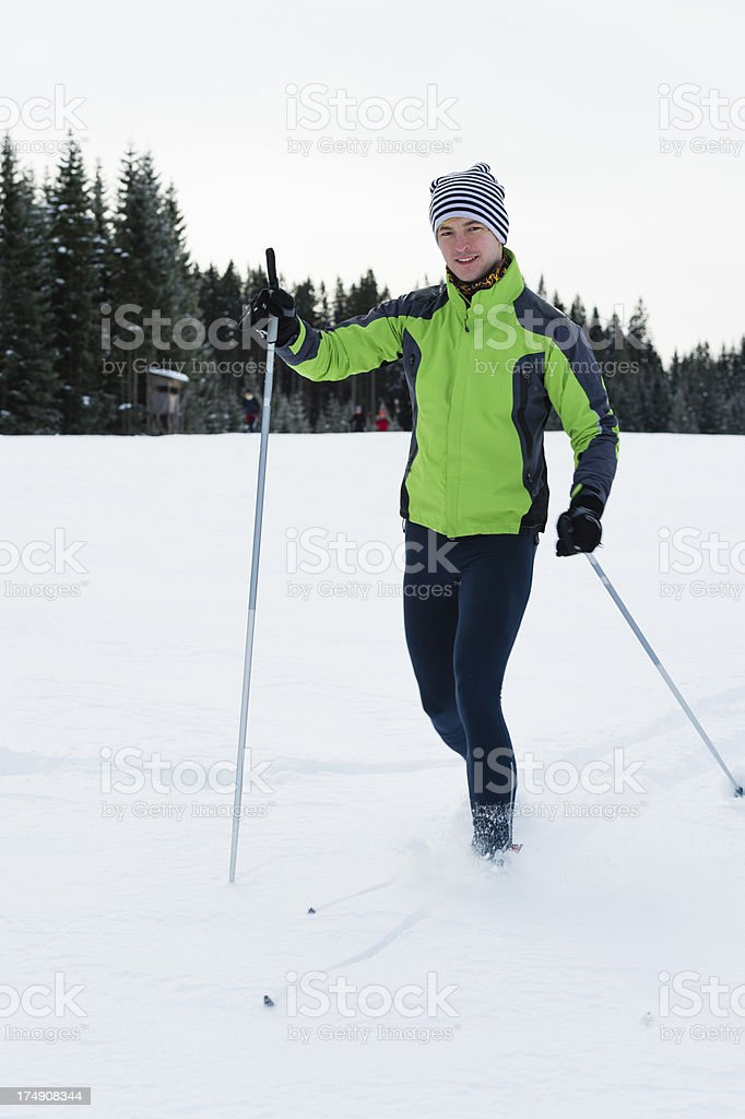 Young man at cross country skiing royalty-free stock photo