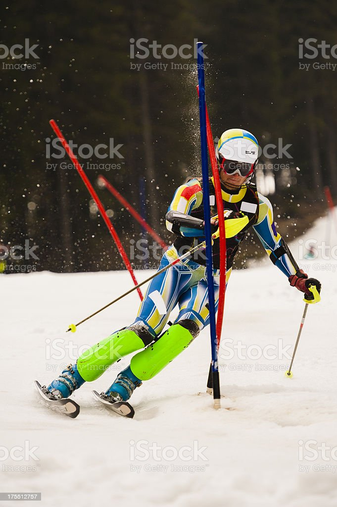 Young man at slalom ski competition stock photo