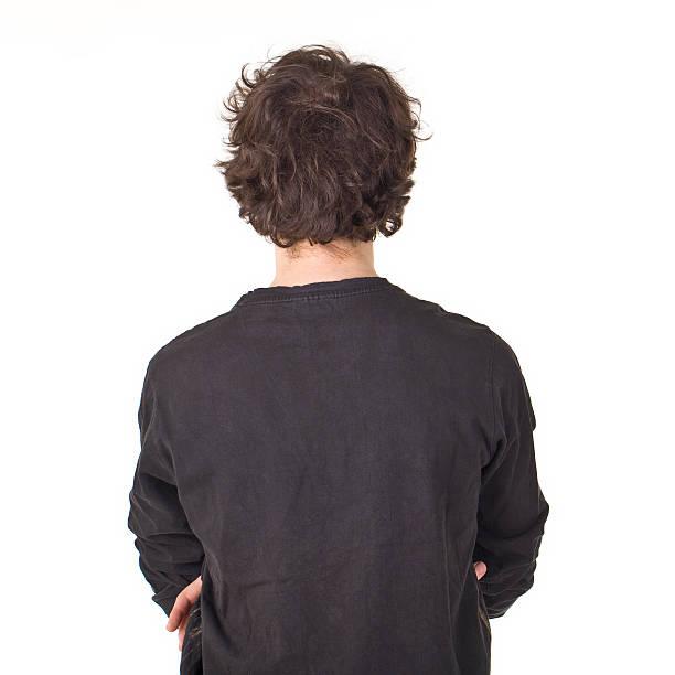 Junger Mann back Porträt mit lockigem schwarzen Haar. – Foto
