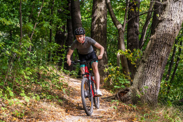 Young man biking in forest stock photo