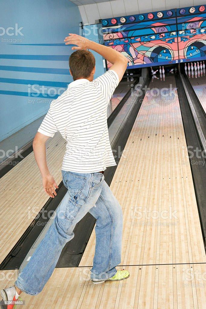 Young Man Bowling royalty-free stock photo