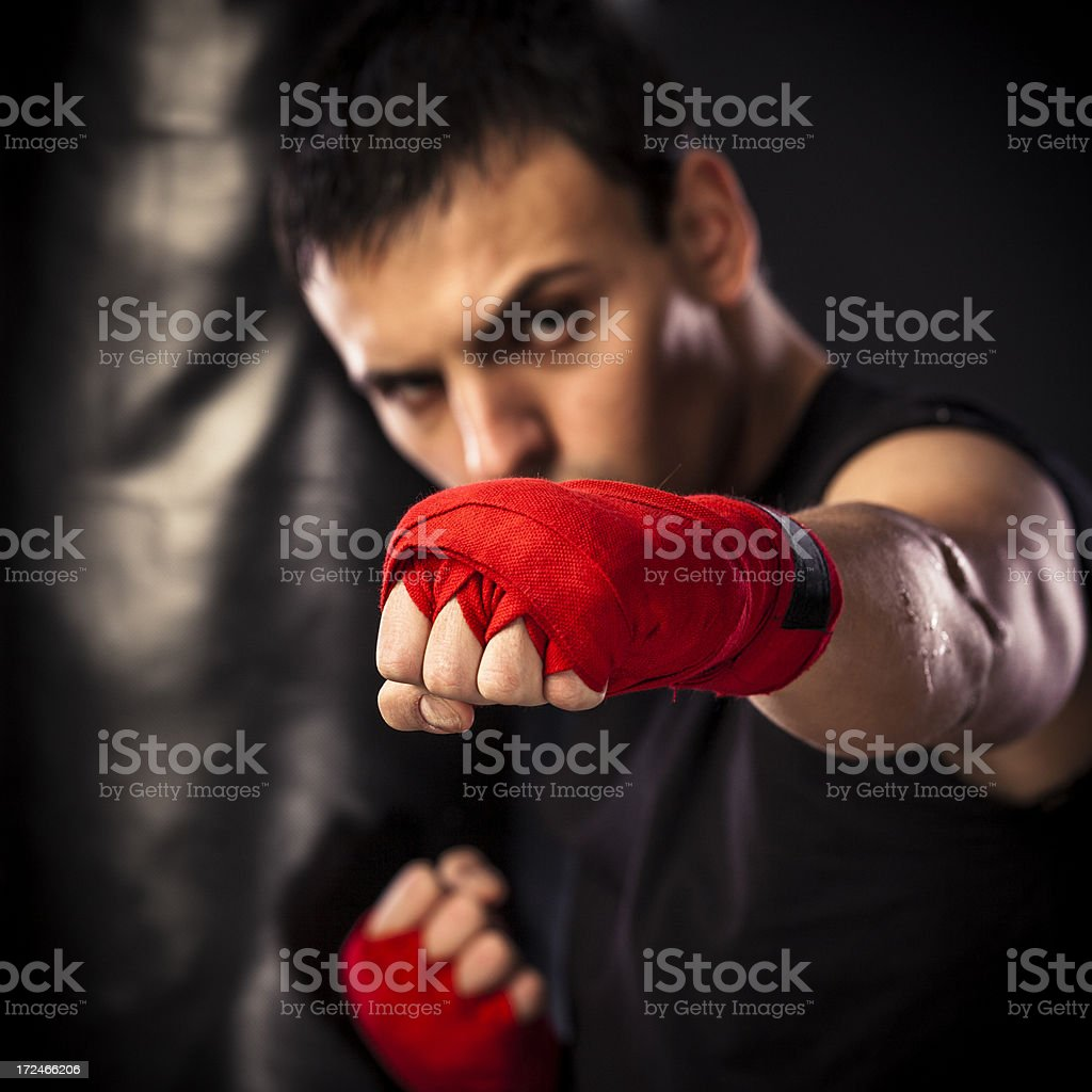 Young man boxing royalty-free stock photo
