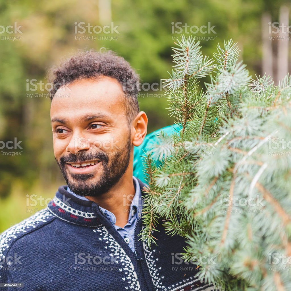 Young Man Bringing Home a Christmas Tree stock photo
