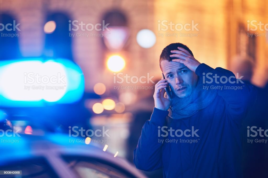 Young man calling after a crisis situation royalty-free stock photo