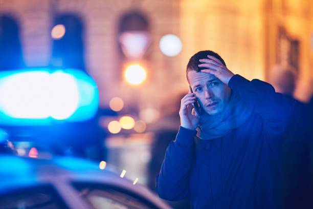 Young man calling after a crisis situation stock photo