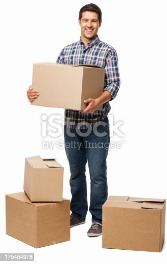 young man carrying cardboard box isolated stock photo more pictures of adult istock. Black Bedroom Furniture Sets. Home Design Ideas