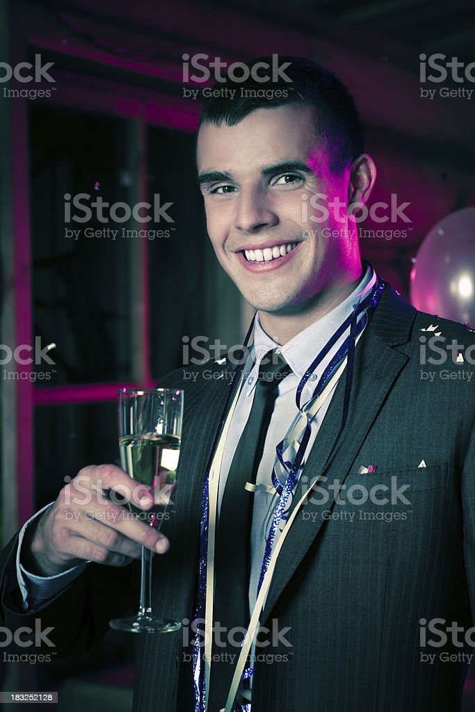 Young man celebrating New Year's Day royalty-free stock photo