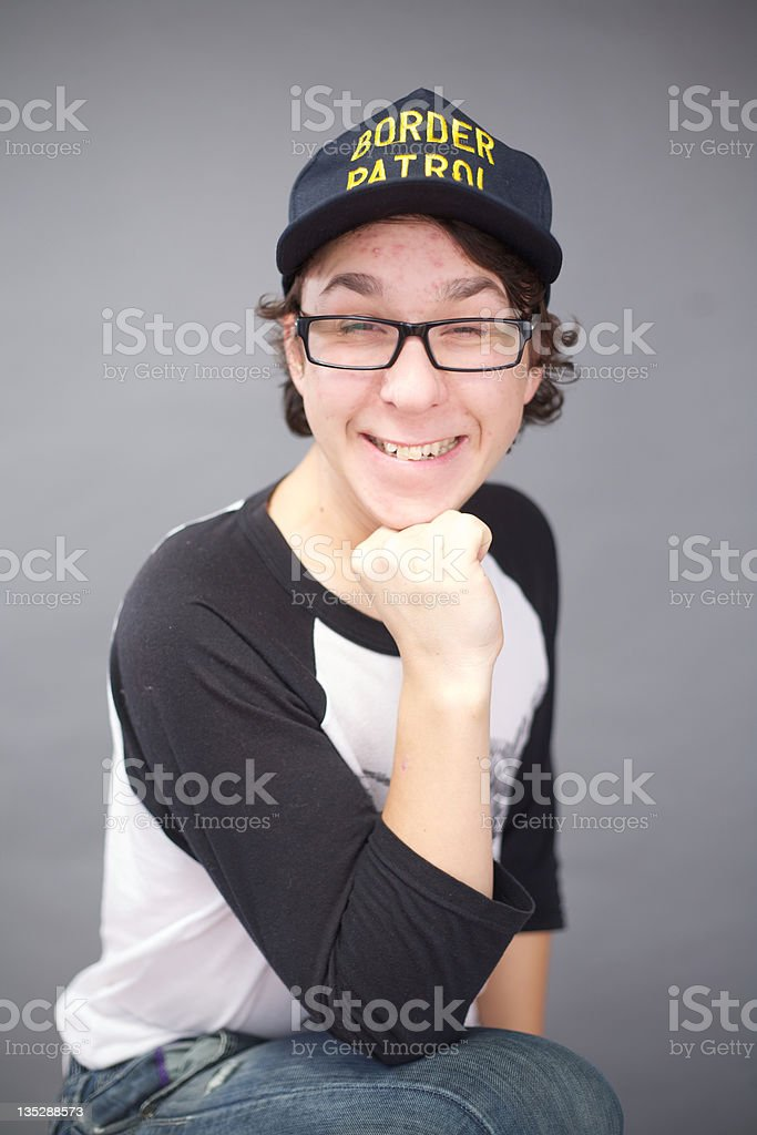 Young Man Cheerfully Smiling stock photo