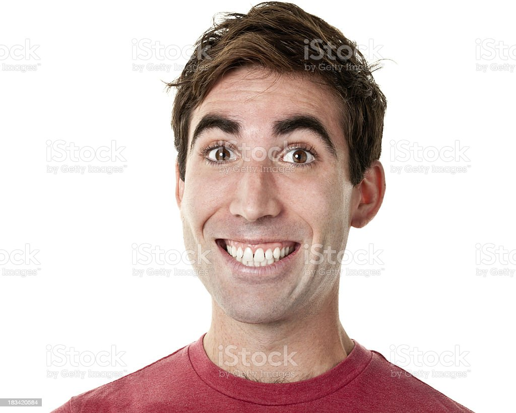 Young Man Cheesy Grin Headshot Portrait stock photo