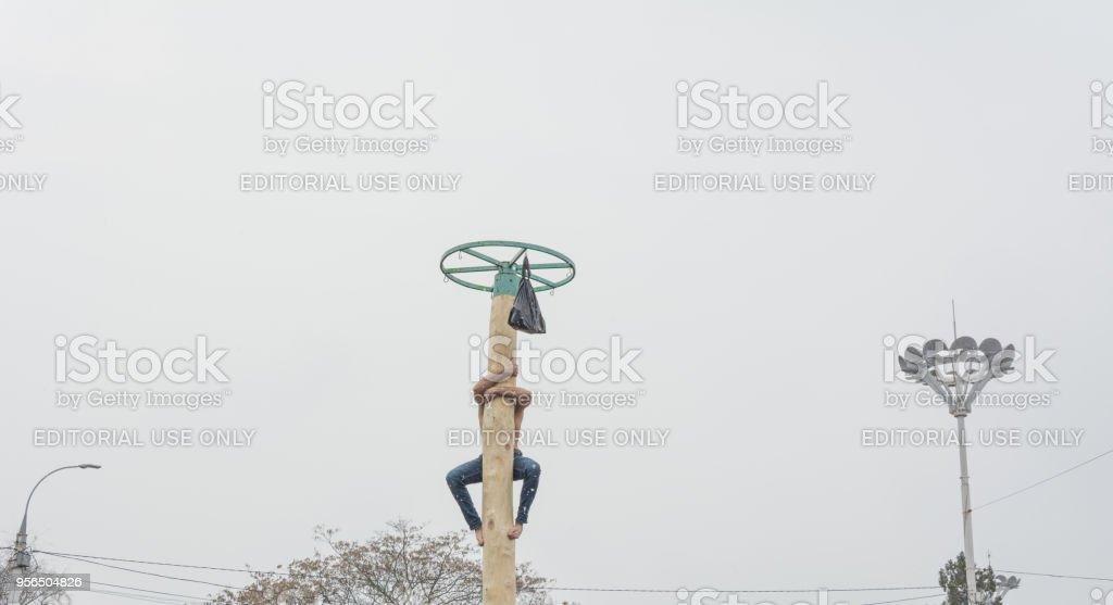 Junger Mann Klettern auf eine Holzstange für den Preis - Lizenzfrei Blau Stock-Foto
