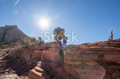 Young man climbing rock on mountain trail; People outdoor activities concept Shot in Grand Canyon, USA