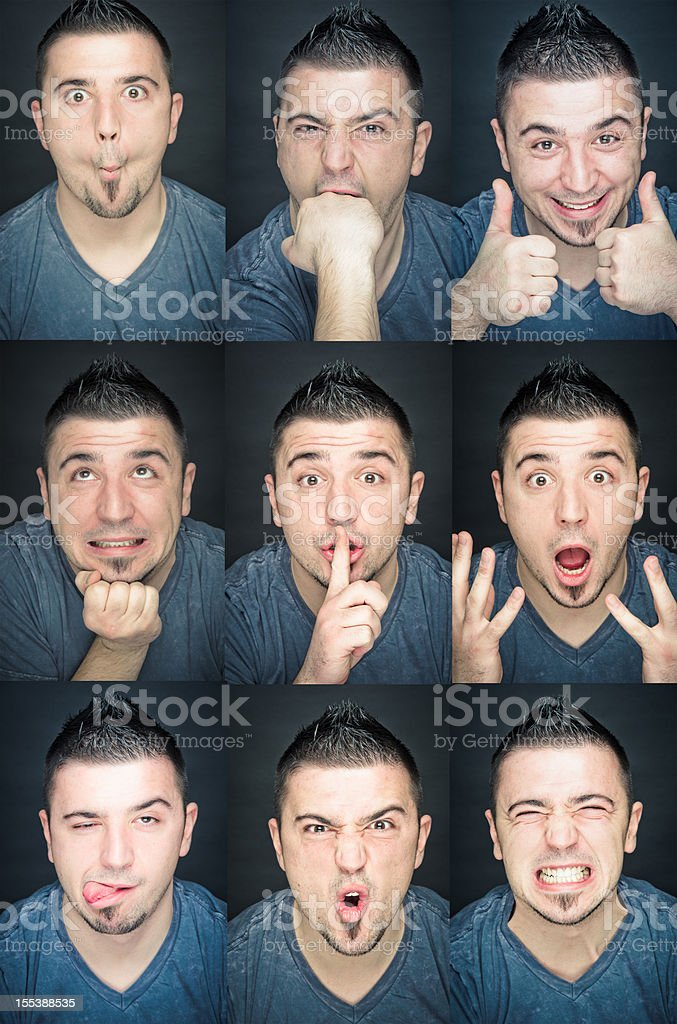 Young man collection of expressions royalty-free stock photo