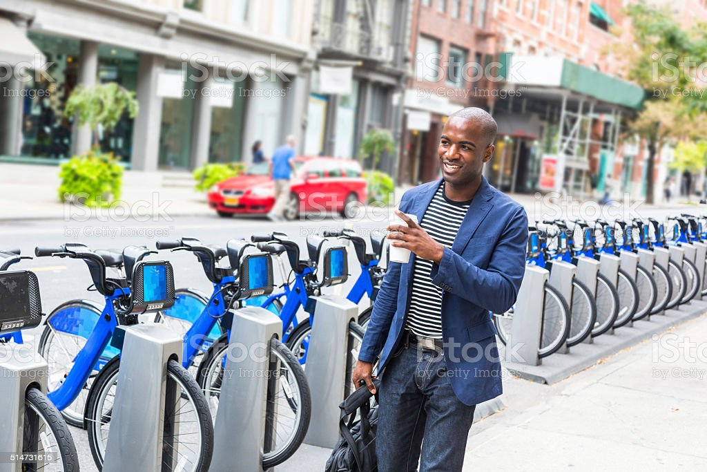 Young Man Commuting in New York stock photo