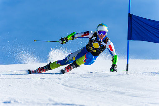 Young Man Compeeting at Giant Slalom Race