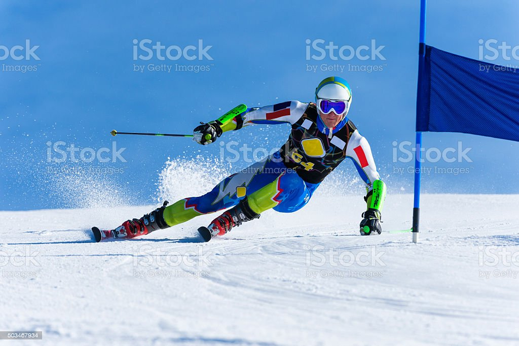 Young Man Compeeting at Giant Slalom Race stock photo