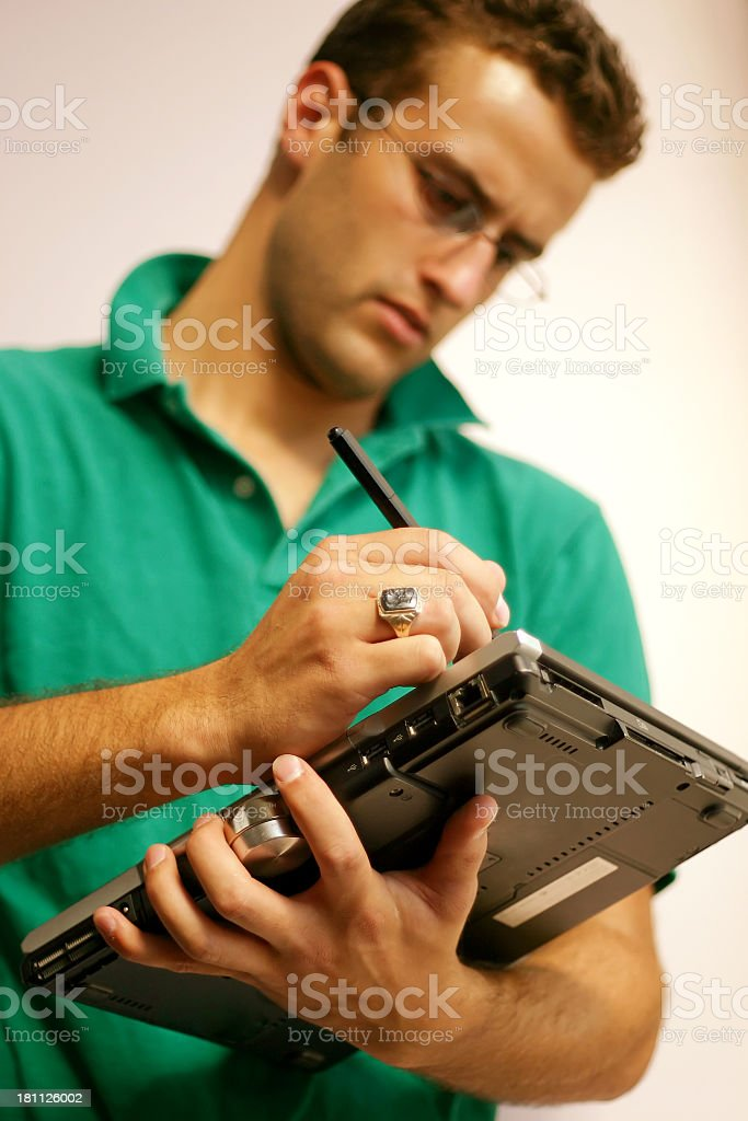 Young Man: Computer Work stock photo
