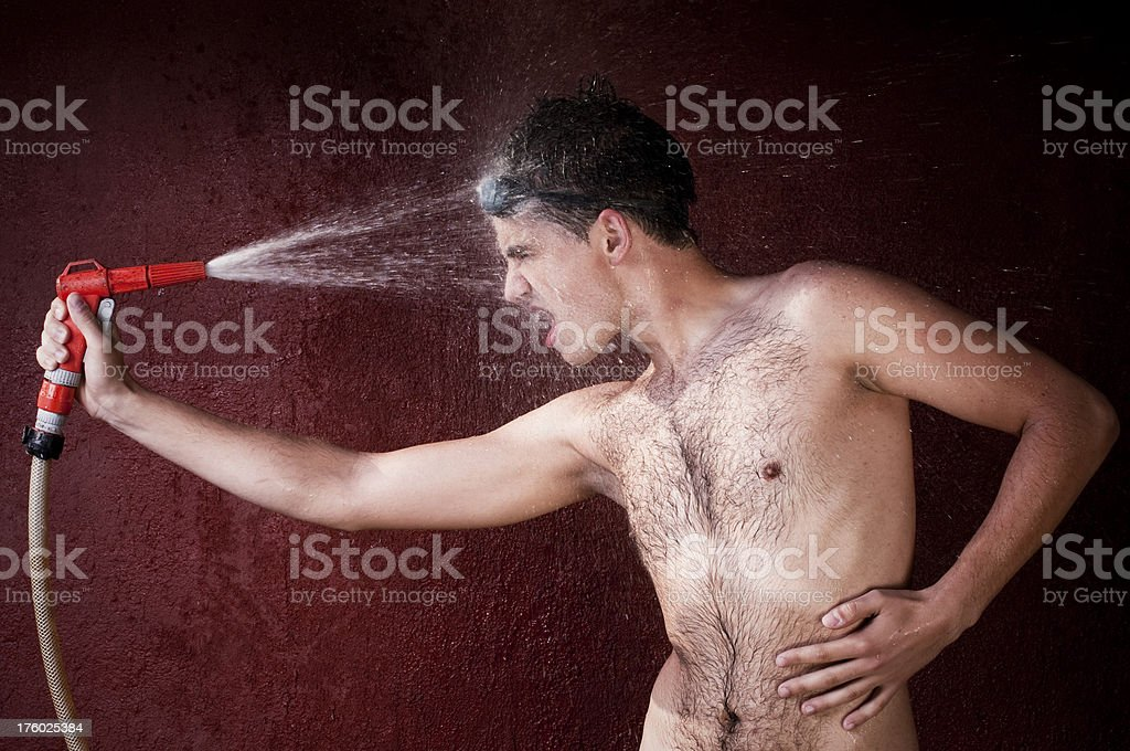Young man cooling himself royalty-free stock photo