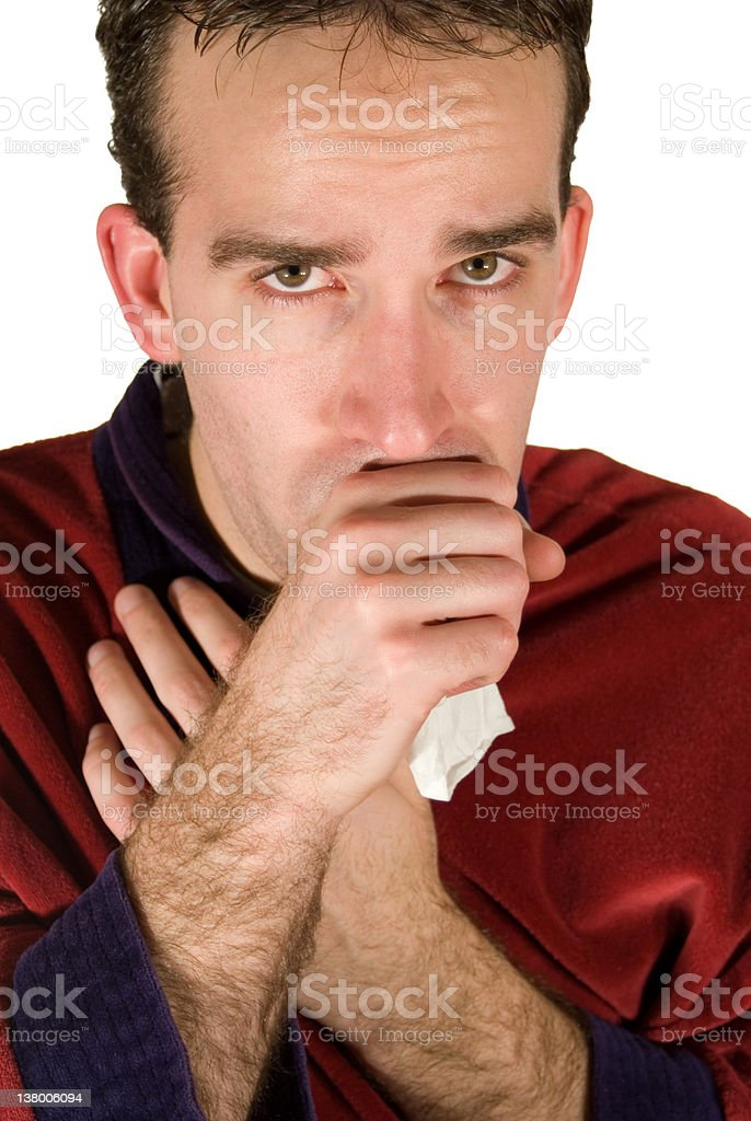 Young Man Coughing royalty-free stock photo