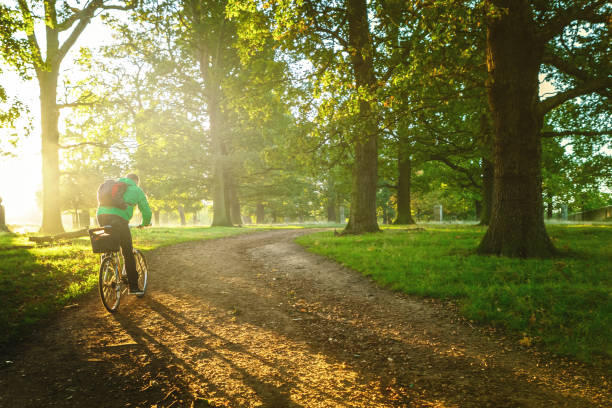 Young man cycling in Richmond Park, London stock photo